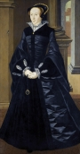 Painting by William Scrots of unknown woman, possibly Margaret Douglas, Countess of Lennox, or perhaps of Mary Queen of Scots. She is wearing, underneath her gown, a chemise with blackwork cuffs and collar.