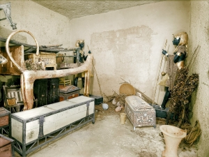 One of the rooms of Tutankhamun's tomb, before the archaeological clearance. Much ancient embroidery was found in the tomb of this 14th century BC Egyptian pharaoh.
