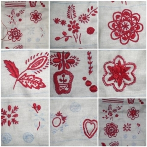 Various motifs of Guimarães embroidery.