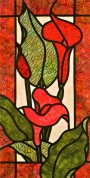 Stained glass patchwork design 'Colourful Callas' by Jan Blanchet,  Arbee Designs.