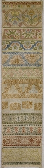 Band sampler, silk on linen, dated 1633, made by Mildred Mayow. Britain.