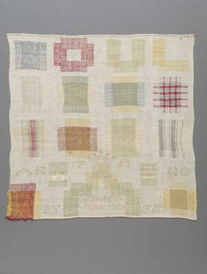 Darning sampler, cotton, embroidered with silk, Zeeland, The Netherlands, mid-18th century.