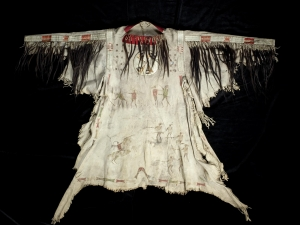 Buckskin shirt worn by the native Indian chief Wanatak, who died in 1837.