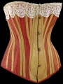 Corset with red sateen, England, c. 1883.