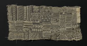 Embroidered net lace sampler, third quarter of the 19th century.
