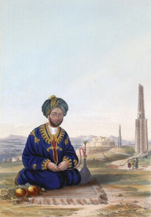 """Hyder Khan, the Governor of Ghuznee."" Coloured lithograph by E. Walker (d. 1882), based on James Rattray (1818-1854) and on an original drawing in the Keane collection."