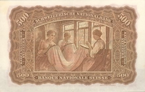 Embroiderers depicted on a 500 franc Swiss banknote of 1911.