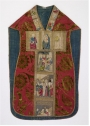 Italian chasuble, 15th century, with embroidered orphrey.