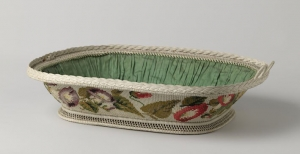 Nappy basket with Berlin wool work, c. 1840-1860.