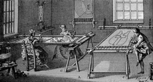 Illustration taken from L'Art du Brodeur by Charles Germain de Saint Aubin (1770), showing a method of embroidering with paillettes.