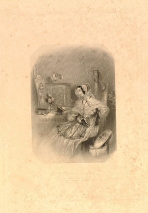 A print depicting a young woman in her bower (mid-19th century)