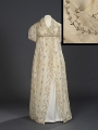 Evening dress or robe, early 19th century, with gilt lamé embroidery.