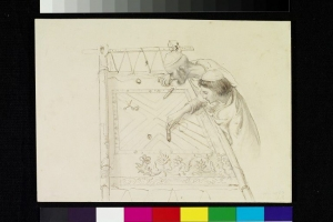 Two men at an embroidery frame. Drawing by John Lockwood Kipling, c. 1870, in Delhi.
