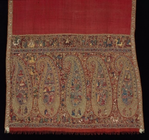 Woollen sash with Kashmir embroidery in wool, c. 1830.