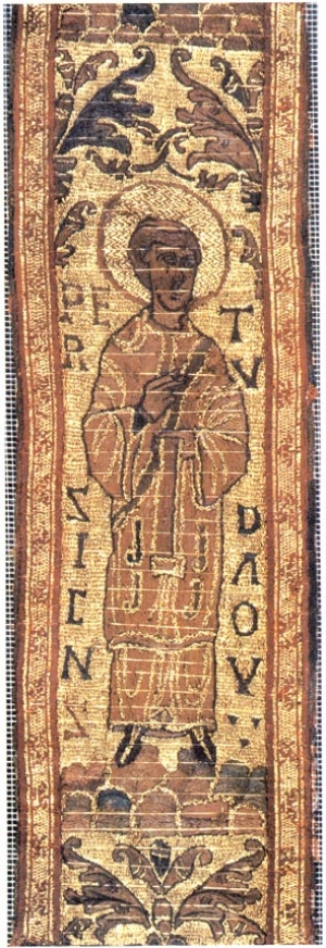Fragment from the maniple from St. Cuthbert's coffin, showing Peter the Deacon. English, early 10th century.