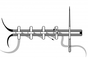 Schematic drawing of horizontal cross stitch couching.