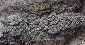 Braiding that was applied to textiles. From one of the graves excavated at Birka, Sweden, 10th century AD.