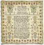 Commemorative sampler, dedicated to King Charles I of England, made by Sarah Robertson, 1759.
