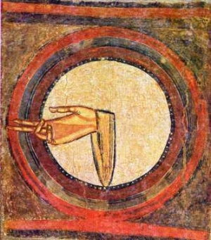 The hand of God. From fresco at Sant Climent de Taüll, Spain.