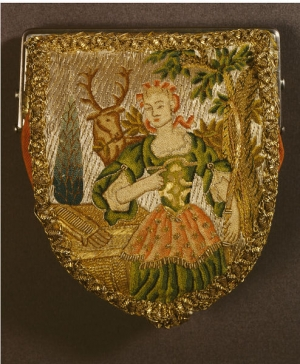 Purse, mid-18th century, French, Embroidered linen with metal purl, silver and gold thread and coloured, plain woven silk
