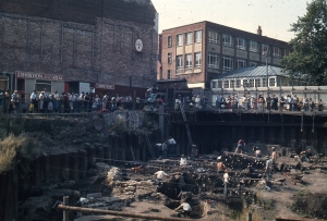 The Coppegate excavations in York (1976-1981), where the embroidered bag was found.