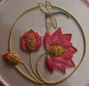 Embroidery with cannetille, by