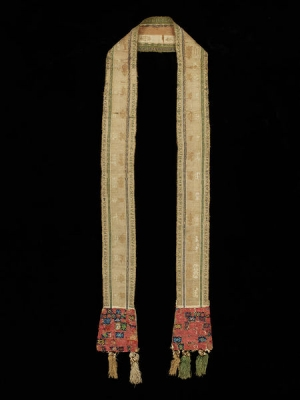 German stole, late 13th - early 14th century, Tablet-woven in silk and gold, with bead embroidery and painted motif on silk lined with parchment or leather.