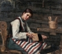 Flemish girl carding wool. Painting by Maria Wilk, 1883