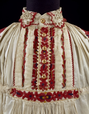 Cotton shirt, embroidered, late 19th century, Hungary, Mezokovesd area.