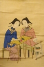 Chinese hanging scroll depicting two girls embroidering (early 19th century).
