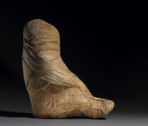 Mummified baboon wrapped up in linen bandages. Egypt, late first millennium BC