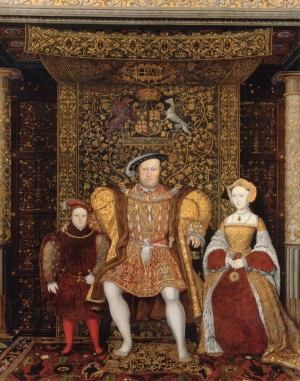 Henry VIII sitting under and in front of a Cloth of State