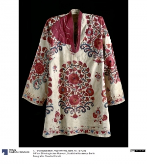 An embroidered woman's shirt from Xinjiang, China, c. AD 1900.