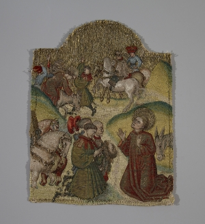 Early 15th century or nué embroidered panel repesenting Saint Martin and the Repentant Horsemen.