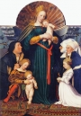 Hans Holbein the Younger: The Darmstadt Madonna, c. 1525/1526. Also known as the 'Madonna des Bürgermeisters Jacob Meyer zum Hasen' or 'Schutzmantelmadonna'.