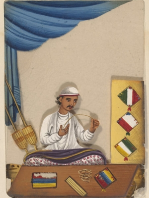 Gouache of embroiderer of scabbard cases, North India, c. 1870.