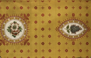 Yellow Gros de Tours (a form of extended tabby weave) with anemones and lilacs, 1811.
