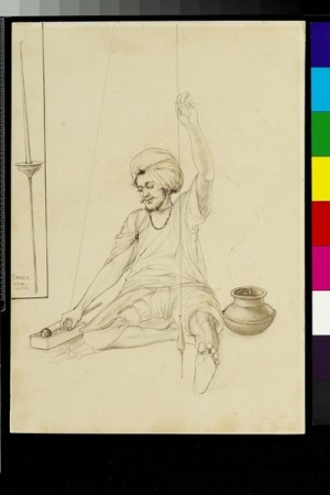 Craftsman making gilt-thread, Amritsar, c. 1870. Drawing by John Lockwood Kipling.