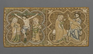 Embroidery on a 14th century burse, in Opus Anglicanum style.
