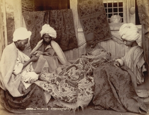 Group of 'Gelakdos' embroiderers, Jammu and Kashmir, India, 1890's.