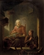 'A Lacemaker, with a Boy Blowing Bubbles,' by the Dutch master, Louis de Moni, 1742.