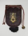 Purple-coloured velvet bag with the civic crest of Schagen in The Netherlands. 17th century.