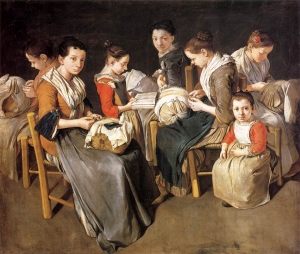 Women Working on Pillow Lace, oil on canvas by Giacomo Ceruti (1698-1767).