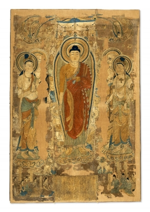 Sakyamuni preaching on the Vulture Peak. Embroidery, Dunhuang, Gansu Province, China, 8th century.