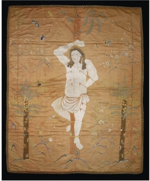 Early 18th century Chinese panel with the representation of St. Sebastian.