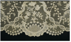 Late 19th century Italian form of needle lace, from Burano (Venice), imitating 18th century point d'Argentan lace.