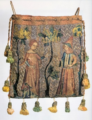 Aumônière from France, dated c. 1340, 15.8 x 14.5 cm, made of linen with silk and gold thread embroidery.