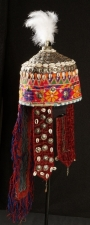 Turkmen girl's headdress decorated with cowrie shells, Afghanistan, late 20th century.