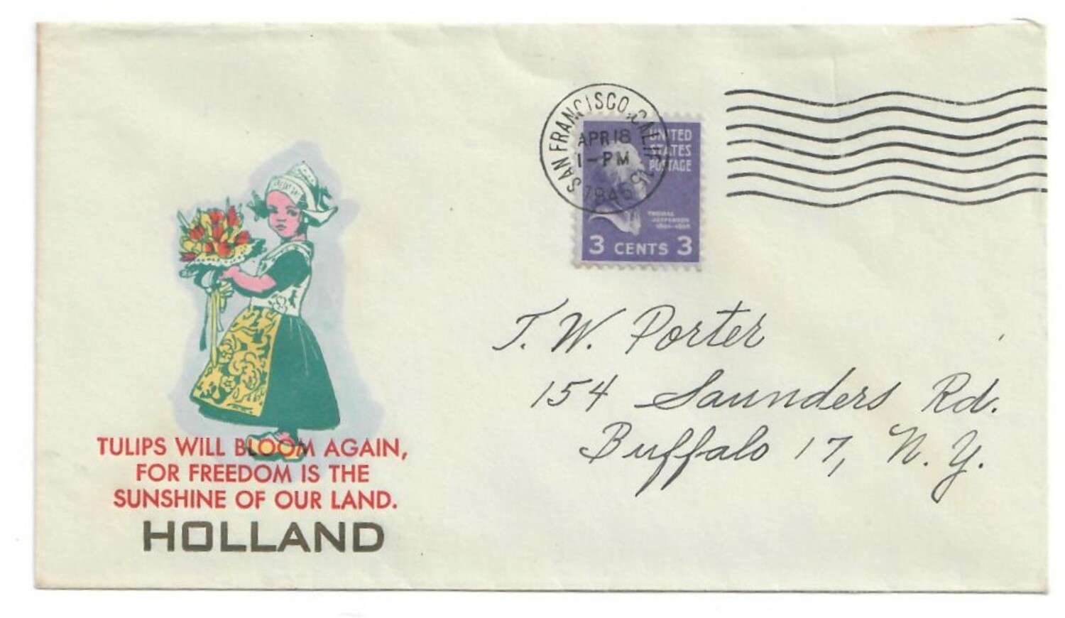 Envelope celebrating the liberation of The Netherlands, with typical 'Dutch' girl in Volendam costume and with tulips, 1945 (TRC 2020.2972).