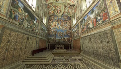 Sistine chapel, Rome, showing paintings of curtains along the walls. Late 15th century.